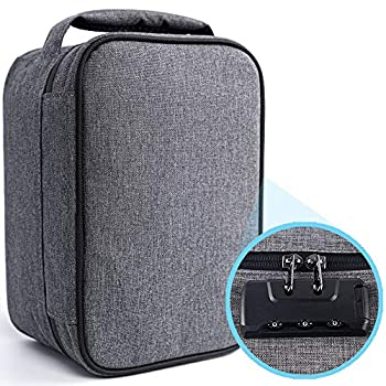 Smell Proof Case with Ziplock Odorless Large Bag Carbon Lined Sealed Business Travel Storage Container for Weed Cigar Coffee Bean Tea  Grey