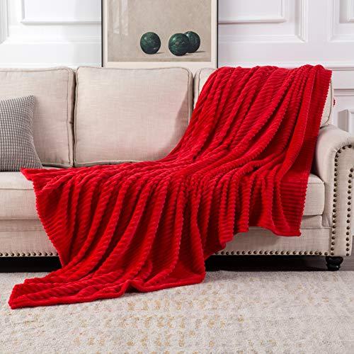 MIULEE Kuscheldecke Fleecedecke Flanell Decke Pompoms Einfarbig Wohndecken Couchdecke Flauschig Überwurf Mikrofaser Tagesdecke Sofadecke Blanket Für Bett Sofa Schlafzimmer Büro 125x150 cm Rot