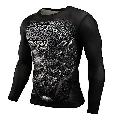 Manga raglán Impreso en 3D Disfraces Disfraces Hombre Camisas de compresión Superhéroe 3D Medias Deportivas de Manga Larga Algodón para Hombres Deportes Anti Sudor Camiseta Transpirable