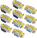 Greluma 10 Piezas 9 Pines RS-232 DB9 Macho a Macho / Hembra a Hembra Adaptador de Acoplador Cambiador de Gnero de Cable Serie