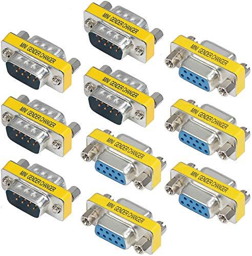 Greluma 10 Piezas 9 Pines RS-232 DB9 Macho a Macho / Hembra a Hembra Adaptador de Acoplador Cambiador de Género de Cable Serie