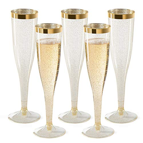 Plastic Champagne Flutes Disposable - Gold Glitter with a Gold Rim - [1 Box of 36 ] 6.5 Oz Premium Toasting Flutes, Elegant Stylish Mimosa Glasses Perfect for Weddings Anniversaries and Catered Events