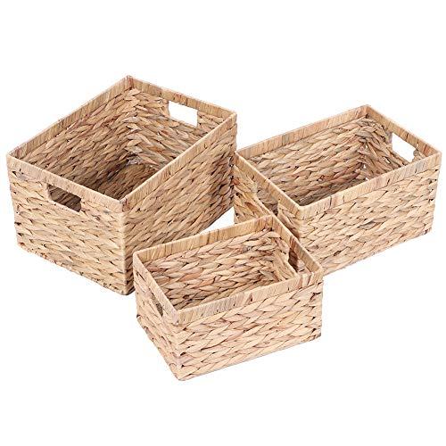 Cesta de almacenamiento de jacinto de agua, juego de 3 cajas de almacenamiento, organizador de armario, cestas de mimbre con tapa para armarios, cajones, armarios, estantes, aparadores