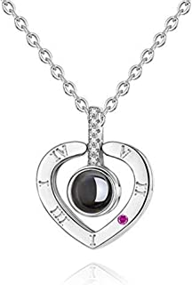 SOUFEEL I Love You Photo Necklace Personalized Custom Pendant S925 Sterling Silver in 100 Languages Projection Gifts Neckl...