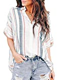 HOTAPEI Womens 2021 Fashion Summer Casual V Neck Striped Cuffed Sleeve Button Down Collar Front Pockets Chiffon Blouses for Women Shirts Tops Small Orange