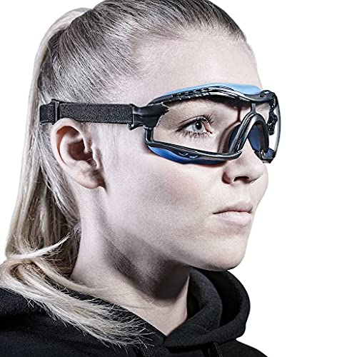 Solid. Small Safety Goggles that fit perfectly   Protective eyewear with clear, anti-fog, anti-scratch and UV-protection lenses   Individual fitting eye protection glasses  For men & women   Blue