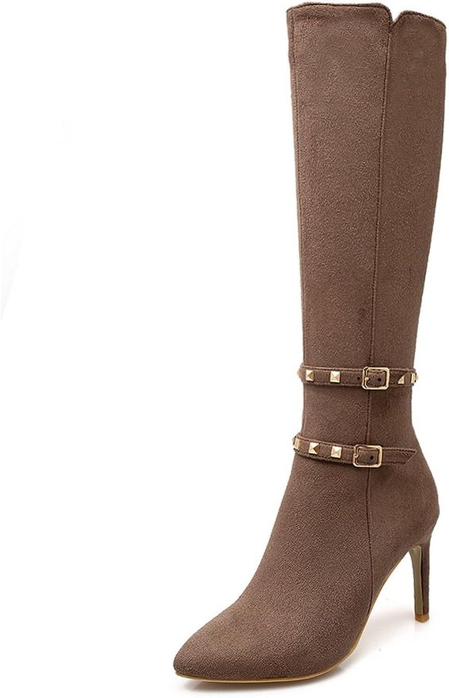AdeeSu Girls Stiletto Buckle Winkle Pinker Frosted Boots