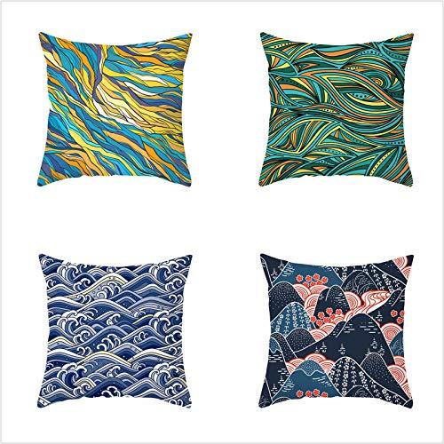 4 Pack Funda De Almohada Abstract Splash Pineapple Suave Algodón Lino Throw Pillow Case, Cuadrada Almohada Caso Cojínes Funda para Sofá Cama Coche Sillas Decoración Cubierta