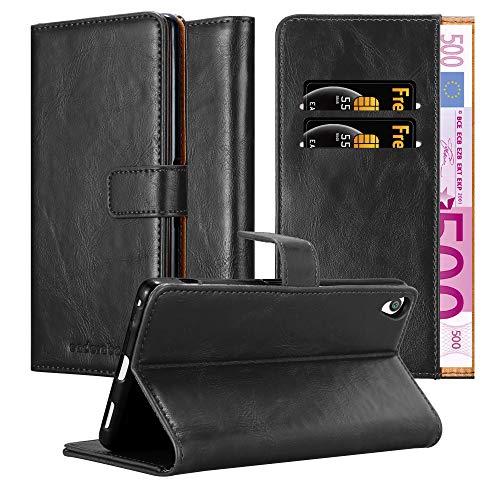 Cadorabo Hülle für Sony Xperia XA Ultra - Hülle in Graphit SCHWARZ – Handyhülle im Luxury Design mit Kartenfach und Standfunktion - Case Cover Schutzhülle Etui Tasche Book