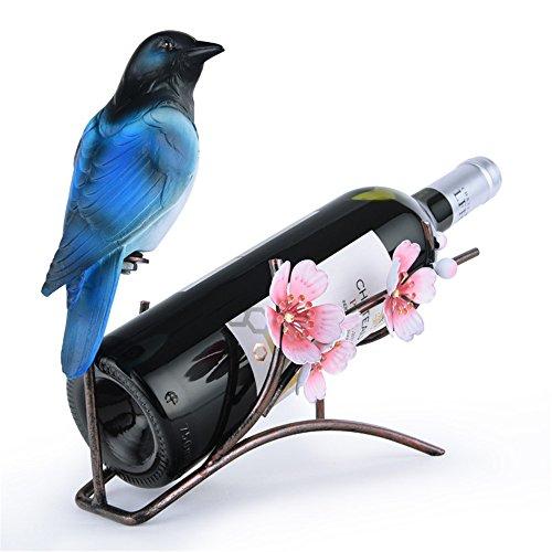 LL-COEUR Porte-Bouteille Décoration Casier à Vin Original Support pour Bouteille Forme Perroquet Feuille Pie Fleurs Idée Cadeau (230 x 130 x 220 mm, Bleu)