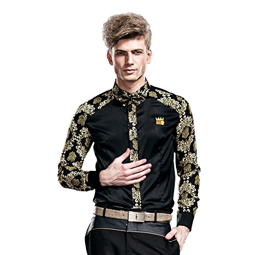 FANZHUAN Black Shirt Dress Men Fancy Printed Wrinkle Free Slim Fit