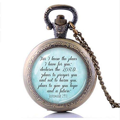 N / A personalisierte Taschenuhr, Bibel-Vers-Taschen-Uhr-Halskette, ich kenne die Pläne Habe ich für Sie - Faith Quote Schmuck Glass Foto Religious
