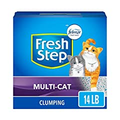 One 14 pound box of Fresh Step multi-cat clumping scented cat litter Inhibits bacterial odor for up to 10 days guaranteed For multi-cat homes and busy litter boxes ClumpLock technology locks in liquid and odors on contact Tight clumping cat litter ma...