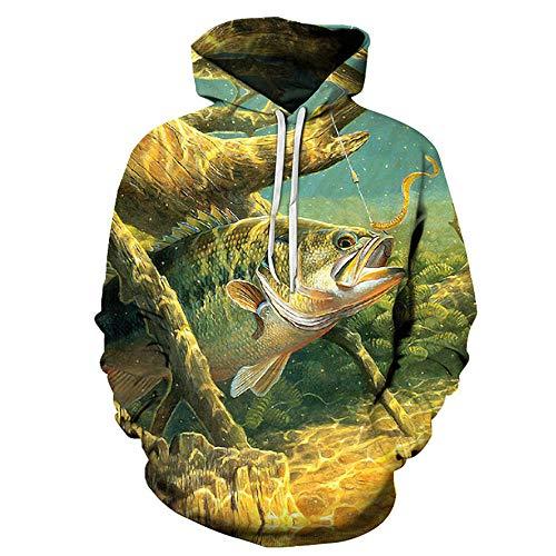 BINGXINK Sudaderas con Capucha,Impresión De Camisa De Pesca En 3D, Moda Casual Unisex con Capucha