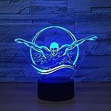 3D Schwimmen Lampe USB Power 7 Farben Amazing Optical Illusion 3D LED Lampe Formen Kinder Schlafzimmer Nacht Licht