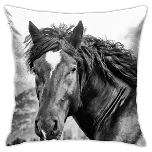 iksrgfvb Pillowcases Cushion Covers decoration Bark Horse Portrait In Mountain on the Sofa car bed 45X45 CM