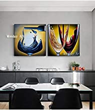 WMZYBYCJL High quality 2 Pcs/Set Painting Hand painted abstract Oil Painting Wall Painting for Living dining m home Decor Picture 50x50cmx2p Frameless
