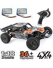 ラジコンカー HBX リモコンカー 1/18 2.4Ghz 4WD RTR 電動オフロードバギー 36 km/h 高速 RCカー 競技可能 二つのスピードモード ラチェットサンドレールオフロード レーシング クローリング オールテレーン 防水砂漠のトラック バギー 男の子向け 子供おもちゃ 操作簡単 (カラフルな)2つのバッテリー 付