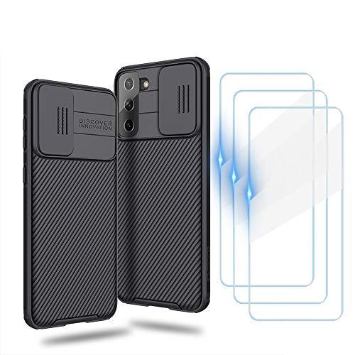WeiCase Custodia per Samsung Galaxy S21, Slide Protezione Fotocamera Custodia [3 Pack Vetro Temperato],Shockproof Phone Case, Case Ultra Sottile Hard PC Cover Anti Graffio Protettiva