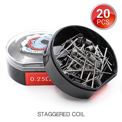 20 PCS Vapethink Staggered Coil Bobina de Vaper Wire, Resistencias Vape AWG(24GAx2) +(0.1x0.5mm...