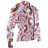 Cindly Pink Rainbow Unicorn Men's Cycling Jersey Long Sleeve Bike Jacket Biking Bicycle Jersey Shirt