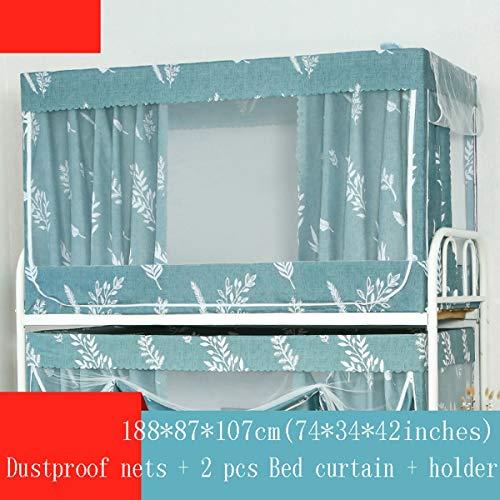 Studentenwohnheim Vorhänge Grid Sheer Dekor Fenstervorhang Panel Paar Etagenbett-Verschlüsselungsnetze Betthimmel Moskito-Schutznetz Anti Staub Bettvorhänge,Green