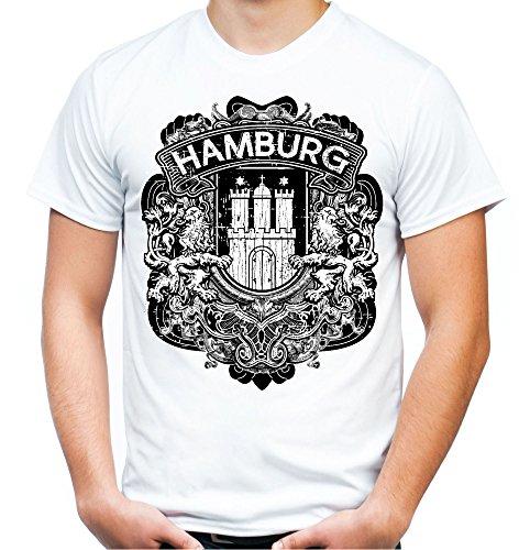Hamburg City Männer und Herren T-Shirt   Stadt Reeperbahn Anchor     M1 (XXL, Weiß)