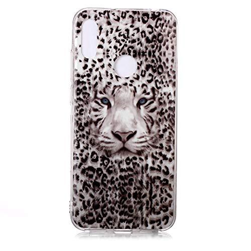 Fatcatparadise Cover per Huawei Y6 2019 / Honor 8A [con Pellicola in Vetro Temperato], [Chiaro di Luna] TPU Morbido Silicone Bumper Cover [Ultra Sottile] Protettiva Case(Tigre Leopardo)
