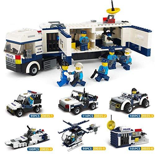 LAMZH Bloques de construcción para niños, juguetes para niños de 3 a 12 años de edad, patrulla de la policía, rompecabezas para coches para juegos creativos (color: multicolor, tamaño: una talla)