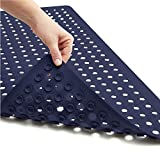 Gorilla Grip Patented Bath Tub and Shower Mat, 35x16, Machine Washable, Extra Large Bathtub Mats with Drain Holes and Suction Cups to Keep Floor Clean, Soft on Feet, Bathroom Accessories, Navy Opaque