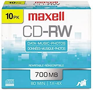 Maxell CD-RW Discs, 700MB/80min, 4x, Silver, 10/Pack (MAX630011)