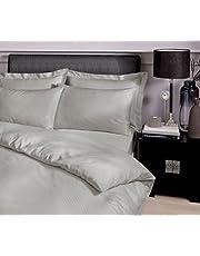 Catherine Lansfield 300 TC satinränder quiltset, 50 % bomull/50 % polyester percal, grå, dubbel