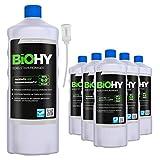 BiOHY Limpiador de acero inoxidable (6 botellas de 1 litro) + Dosificador   para el cuidado de acero inoxidable para un nuevo brillo   Protección contra manchas lubricantes (Edelstahlreiniger)