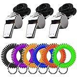 FineGood 3 silbatos de acero inoxidable con 6 pulseras en espiral, silbato de metal fuerte con cordón y llavero elástico de muñeca para árbitros, entrenadores, fútbol, baloncesto, hockey