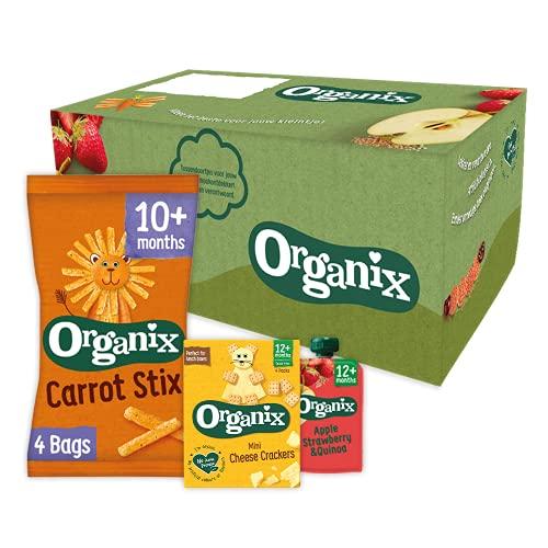 Organix Biologische Peuter Snack Box (10+/12+mnd) - 17 st. - Verantwoorde tussendoortjes, snacks en knijpfruit– Geen zout toegevoegd
