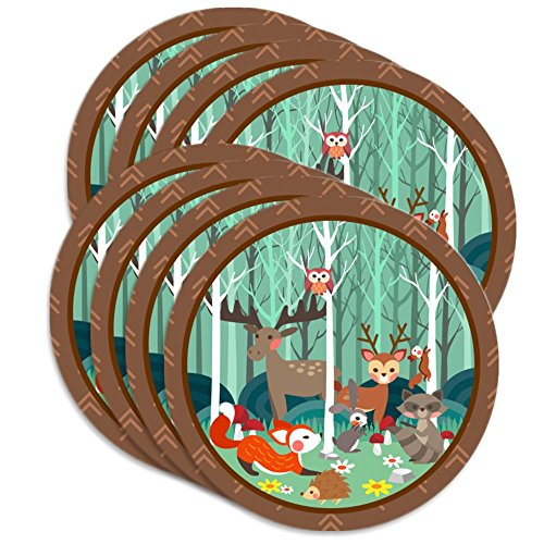 "Woodland Animals Birthday Party Supplies Large 9"" Plates 80pcs Value Pack"