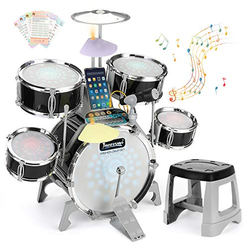 BEAURE Jazz Drum Set for Kids with Light Sound Microphone Compatible with Mobile Phone/Computer/MP3 Musical Playset Educational Instrument Kit for Kids Gift Toy for Kids Toddler Boys Girls