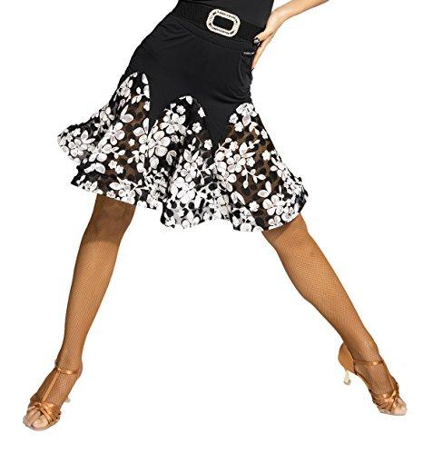 SCGGINTTANZ G2042 Latin Latein Moderner Der Ball Tanz Gesellschaftstanz Professionell Fischgräten Rand Rock mit Spitzennähten (L, (SBS) Flower+Black)