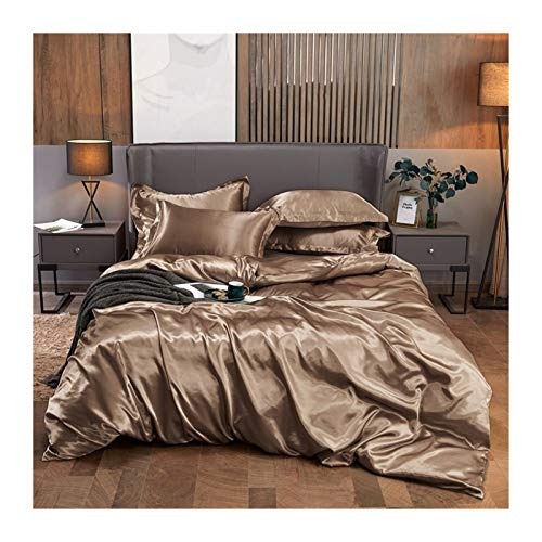 Ark set, Satin Silk Sängkläder Sätt Lyxigt Duvet Cover Set Solid Color Bed Sheet Set Single Double Queen King Storlek (Color : Xiang bing jin, Size : Queen Size 3pcs)