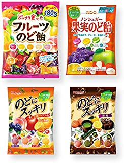 4 Packs Set of Japanese Cough Drops (Assortment of Fruits Flavors), Ninjapo Wrapping