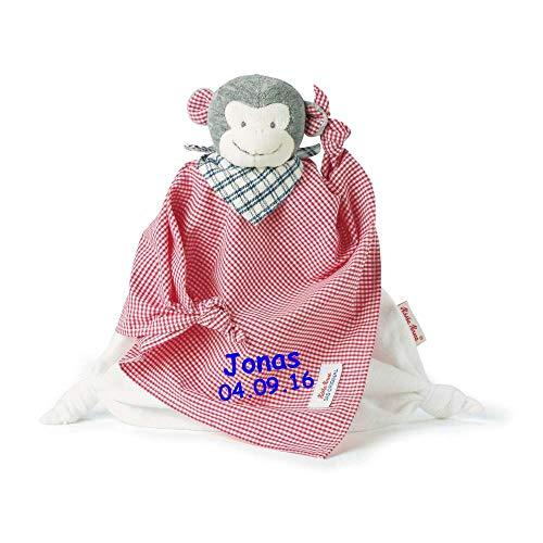 Käthe Kruse Schmusetuch mit Namen bestickt * Affe Carlo * Baby Geschenk zur Geburt Schnuffeltuch