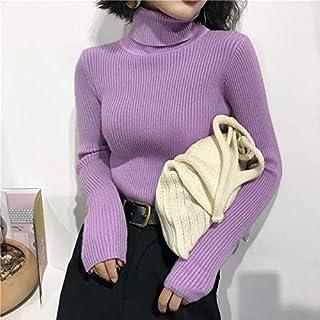 QMGLBG Suéter de Cuello Alto para Mujer Otoño Invierno Tops Coreano Delgado Jersey de Mujer Jersey de Punto Pull Femme Hiver