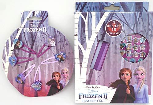 TDL Disney Frozen Set De Regalo 3 Pulsera + 18 Colgante + 6 Pinzas De Cabello - Licenciado Oficialmente - 3 Bracelets + 18 Charms + 6 Hair Clips - Gift Bundle