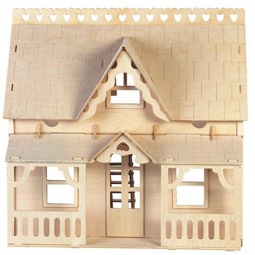 ETNA Iława Haus mit Veranda 3D Holzbausatz Puppenhaus Holz Steckpuzzle Holzpuzzle Kinder DH003