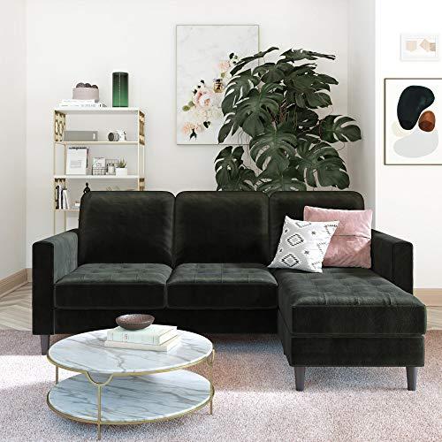 CosmoLiving Strummer Reversible Sectional Couch, Black Velvet Sofa