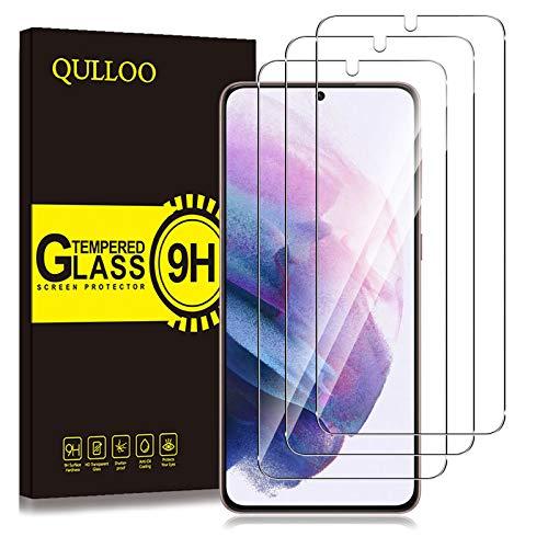 QULLOO Panzerglas für Samsung Galaxy S21, [3 Stück] 9H Hartglas Schutzfolie HD Displayschutzfolie Anti-Kratzen Panzerglasfolie Handy Glas Folie für Samsung Galaxy S21