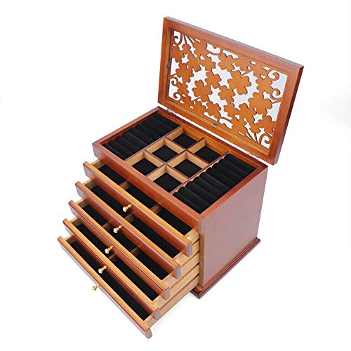 RainWeel Retro 6 Schichten Holzschmuck Vitrine Schrank Organizer Schmuckkasten Schmuckkoffer Geschenkbox Aufbewahrungsbox Schmuckschatulle