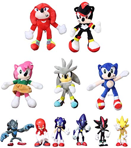 Figura peluche Sonic 11 unids/lote nuevo divertido juguete de peluche sónico Amy rose sonic-shadow-silver the hedgehog Tails Knuckles the echidna muñeco de peluche suave
