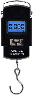 Báscula Digital Básculas de Equipaje Escala de Pesca de Pantalla LCD10g~50kg,Viaje Portátil Báscula de Gancho de Medición para Pesar Maletas, Viajes,Cocina, Pesca y Caza