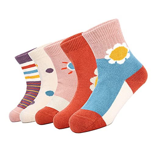 Toddlers Socks, Athletic Socks Pack of 5 Pairs for Boys and Girls